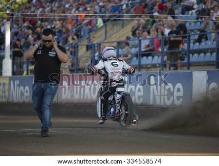 DAUGAVPILS, LATVIA - AUGUST 2, 2015:  Open Individual Speedway Latvia championship. Speedway riders on the track