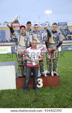 DAUGAVPILS, LATVIA - July 17, 2016. Latian team on the podium - 3rd place in semifanl. Semifinal of Team Speedway Junior European Championship. participants - Latvia, Denmark, Czech, Norway.