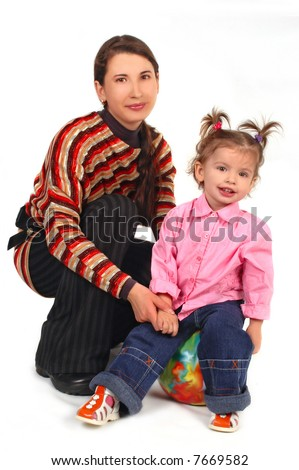 Daughter and mother on white background