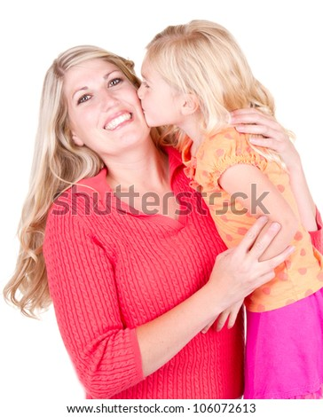 Daughter kissing mother, isolated on white