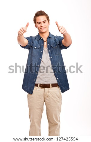 Daumen hoch/Thumbs up - stock photo