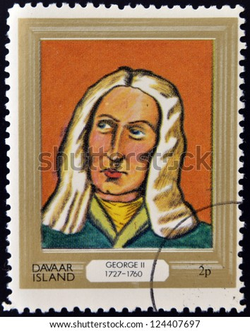 DAVAAR ISLAND - CIRCA 1977: A stamp printed in Davaar Island dedicated to the kings and queens of Britain, shows King George II (1727 - 1760), circa 1977