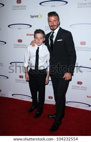 David Beckham and son Brooklyn at the 27th Anniversary Of Sports Spectacular, Century Plaza, Century City, CA 05-20-12 - stock photo