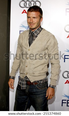 """David Beckham attends the AFI Fest Opening Night Gala Premiere of """"Lions for Lambs"""" held at the ArcLight Theater in Hollywood, California, United States on November 1, 2007.  - stock photo"""