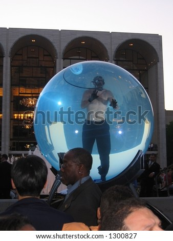 David Blaine in the bubble at Lincoln Center