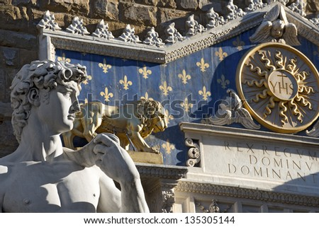 David by Michelangelo - Florence Italy / Replica of Michelangelo's David statue in Piazza Signoria - Florence Italy - stock photo