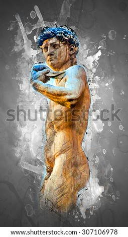 David by Michelangelo in front of Palazzo Vecchio, Florence Italy - stock photo