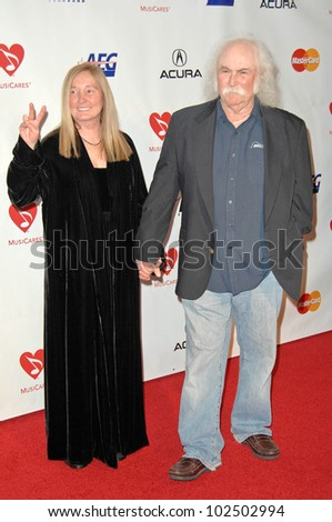 David Crosby and wife Jan Dance at the 2010 MusiCares Person Of The Year Tribute To Neil Young,  Los Angeles Convention Center, Los Angeles, CA. 01-29-10 - stock photo