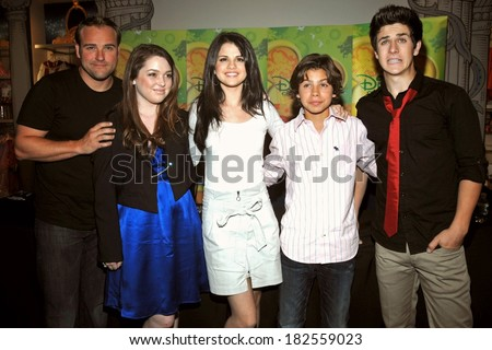 David DeLuise, Selena Gomez, Jennifer Stone, Jake T Austin, David Henrie at the press conference for New York Times Talks with WIZARDS OF WAVERLY PLACE, The Times Center, New York, Sept 06, 2008