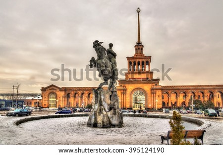 David of Sassoun statue and Yerevan Railway Station - Armenia