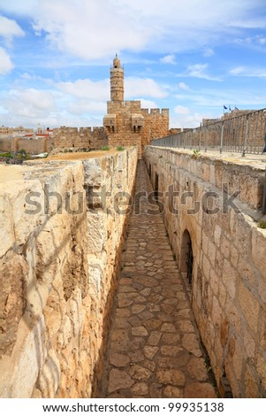David's tower (citadel) - the old city of Jerusalem and view of the new Jerusalem - stock photo