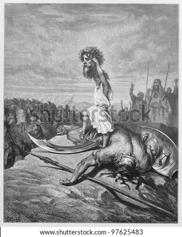 David slays Goliath - Picture from The Holy Scriptures, Old and New Testaments books collection published in 1885, Stuttgart-Germany. Drawings by Gustave Dore.
