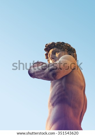 David statue against blue sky, Florence - Tuscany, Italy
