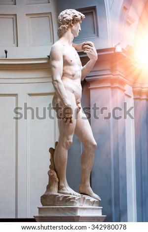 David Statue by Michelangelo in Galleria dell'Accademia - stock photo