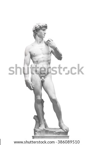 David Statue by Michelangelo in Galleria dell'Accademia (uffizi museum) in Florence. Italy. - stock photo