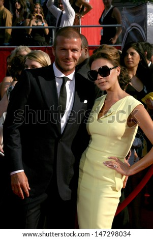 David & Victoria Beckham arriving at the 2008 ESPY Awards at the Nokia Theater in Los Angeles, CA on July 16, 2008 - stock photo