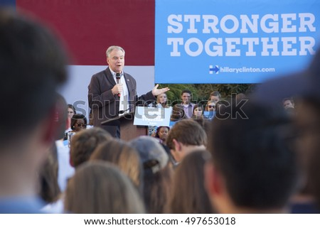 DAVIDSON, NORTH CAROLINA - OCTOBER 12: United States Democratic vice presidential candidate Tim Kaine speaking at Davidson College in Davidson, North Carolina on October 12, 2016.