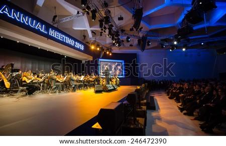 DAVOS, SWITZERLAND - Jan 20, 2015: Opening ceremony of World Economic Forum Annual Meeting 2015 in Davos, Switzerland - stock photo