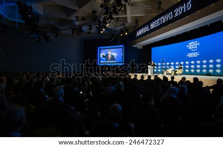 DAVOS, SWITZERLAND - Jan 21, 2015: President of Ukraine Petro Poroshenko speaks at the World Economic Forum in Davos (Switzerland)