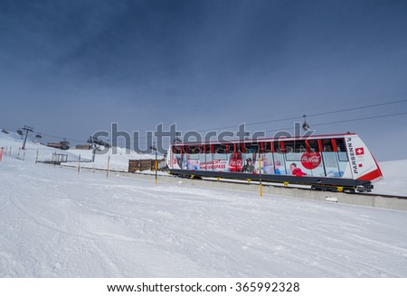 DAVOS, SWITZERLAND - JANUARY 12, A driving funicular in the Parsenn mountains, Davos, Switzerland 2015 - stock photo