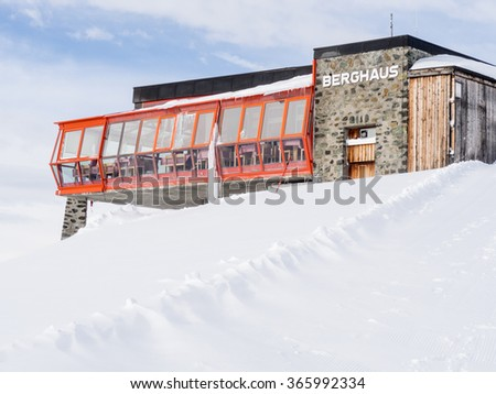 DAVOS, SWITZERLAND - JANUARY 12, View of the Weissfluhgipfel restaurant in Davos, Switzerland, 2015 - stock photo