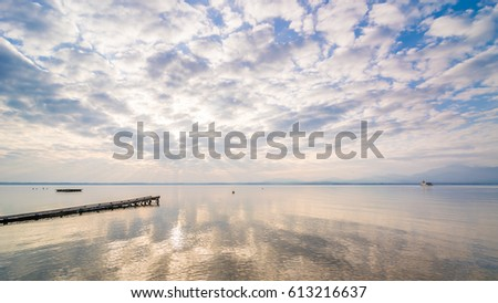 Dawn above lake Chiemsee in Bavaria, Germany