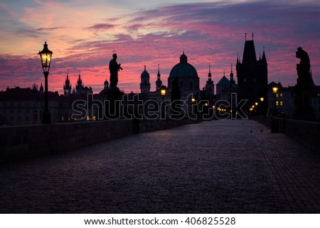 Dawn at Charles bridge,  Prague, Czech Republic - stock photo