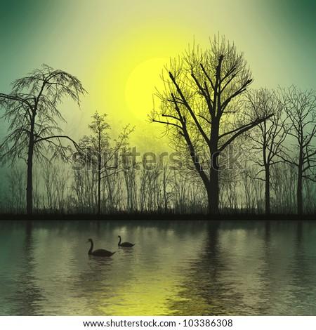 Dawn at Lake - stock photo