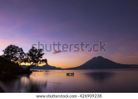 Dawn at Lake Atitlan, Guatemala - stock photo