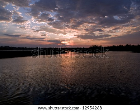 Dawn at Lake Mitchell - Mitchell, South Dakota - stock photo