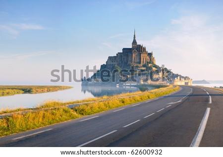 Dawn at Mont Saint Michel. France - stock photo