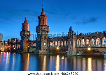 Dawn at the Oberbaumbruecke in Berlin, Germany - stock photo