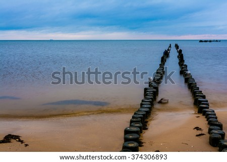 dawn at the pier of Heringsdorf, Usedom Island in Germany