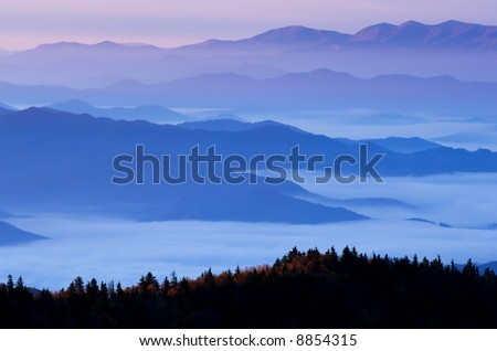 Dawn, from Clingman's Dome, Great Smoky Mountains National Park, Tennessee, USA - stock photo