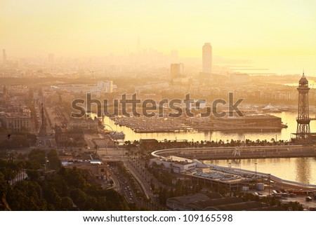 Dawn in the city's port (Barcelona, Spain, Europe) - stock photo