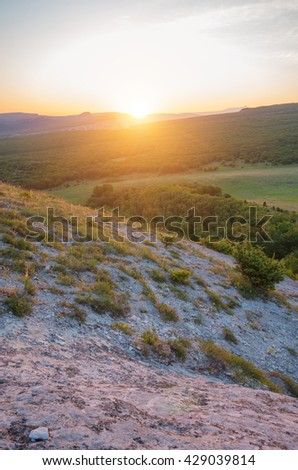 Dawn in the Crimean mountains. View from the top. Natural composition