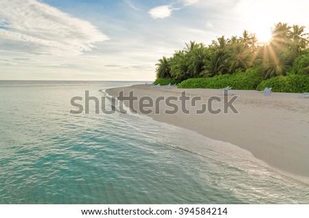 Dawn in the Maldives - stock photo