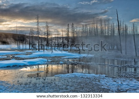 Dawn in Yellowstone National Park - stock photo