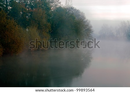 Dawn on a curve of the Ave, a romantic and mysterious River of the North of Portugal, near Porto - stock photo