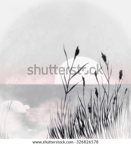 dawn on river - sun, sky, water, grass, rocks and calm - digital mixed media artwork and watercolor texture for poster, fantastic cover design of book or music CD - stock photo