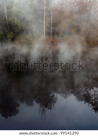 Dawn on the Ave, a romantic and mysterious River of the North of Potugal, near Porto - stock photo