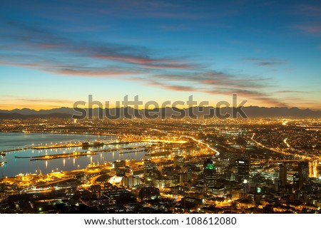 Dawn on the coast of Cape Town city (South Africa) - stock photo