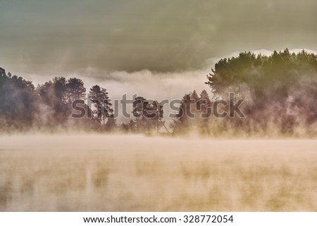 Dawn on the lake. Thick fog, silhouettes of trees in the rays of the rising sun