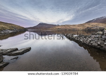 Dawn over Loch Assynt,Sutherland - stock photo