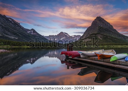 Dawn over Swiftcurrent Lake at Montana's Glacier National Park