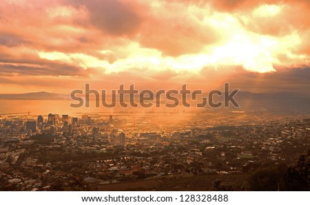 Dawn over the city of Cape Town, South Africa - stock photo