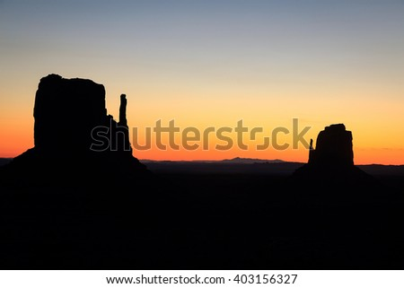 Dawn silhouette in Monument Valley, Arizona, USA.