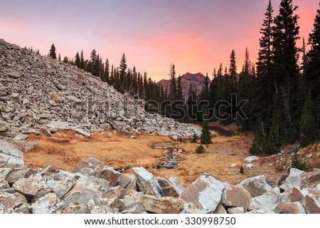 Dawn sky in the Wasatch Mountains, Utah, USA. - stock photo