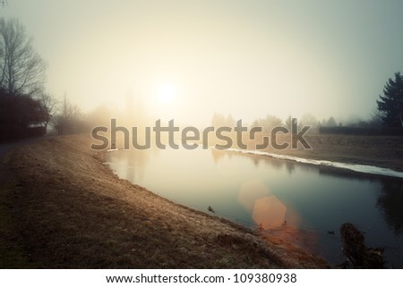 Dawn sunlight of Spring River - stock photo