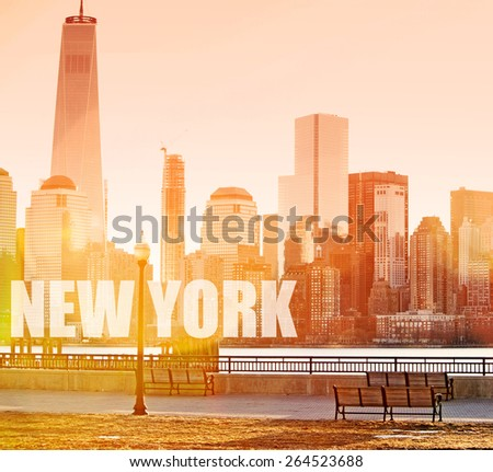Dawn sunshine breaking over lower Manhattan with natural lens flare - stock photo